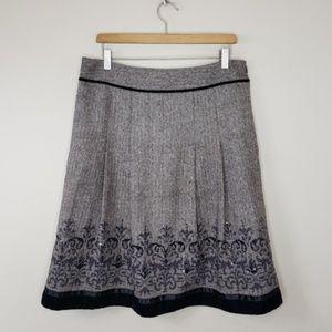 LOFT   Brown Pleated Herringbone Skirt